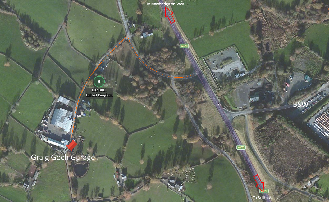 Small aerial map of Graig Goch area